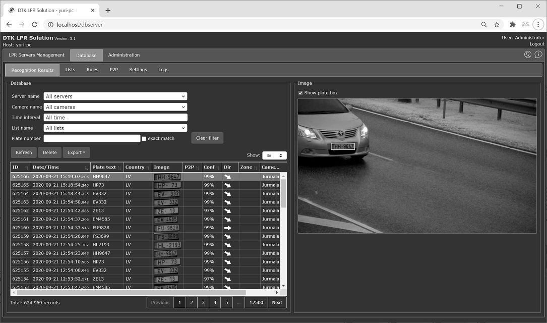 DTK ANPR/LPR Solution Screenshot Database